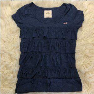 Hollister navy blue ruffle T-shirt Blouse